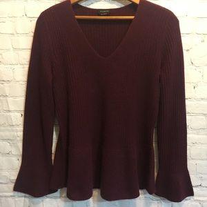Cashmere v-neck ribbed burgundy sweater Medium